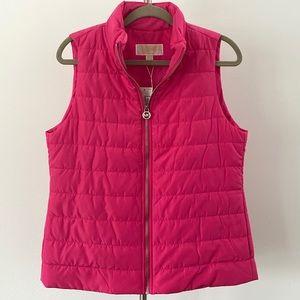 NWT Michael Kors 'Crimson' Hot Pink Puffer Vest